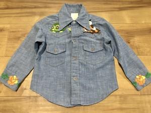 アメリカ製ビンテージ刺繍入シャンブレーシャツ70sOLDキッズサイズ