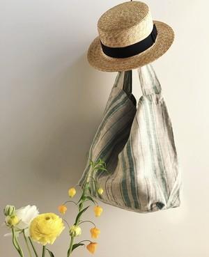 ◆お客様御予約分◆Green Stripe Linen Bag
