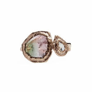 conoa (コノア) 凍りかけの水たまり2連  (バイカラートルマリン+ローズカットダイヤ) 9号 gold
