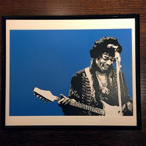 【JIMI HENDRIX】Stencil Picture(額付き)/ Blue