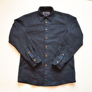 "HAKOU""波光"" 武州藍染 オックスフォード パッチワーク ウッドボタン シャツ Aizome Oxford Patchworks Shirts w/wood buttom"
