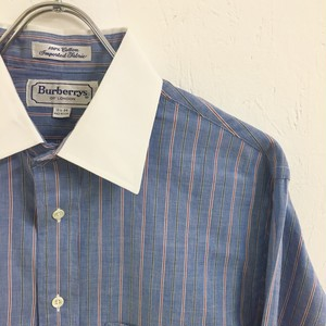 Burberrys : white collar stripe shirt (used)