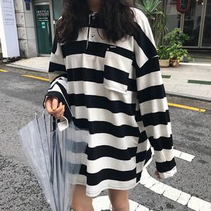 ボーダーワンピース ポロシャツ風 チュニックワンピース【0403】