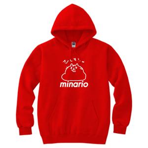 minario / にゃんつー・ひしもち。 HOODED SWEATSHIRT RED