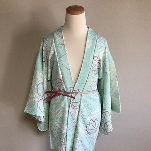 HAORI Silk soft blue mix soft green × cawaii reaf pattern