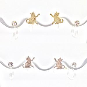 【樹脂ノンホール】双子ネコセットノンホールピアス