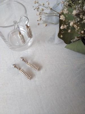 天然石と淡水パールの編み込み pierce&earring