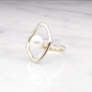 【RESTOCK】S925 SINGLE PEARL OPEN RING GOLD × WHITE