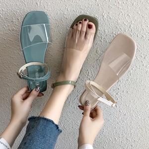 【シューズ】透明ファッション新作切り替えサンダル