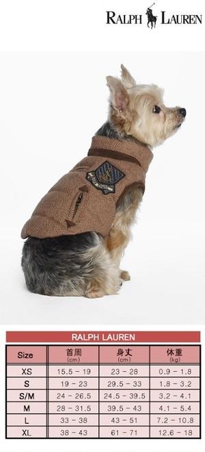 犬服(ドッグウェア)RALPH LAUREN ラルフ Tweed Dog Down Vest