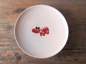 漆塗りの縁起豆皿<赤べこ>