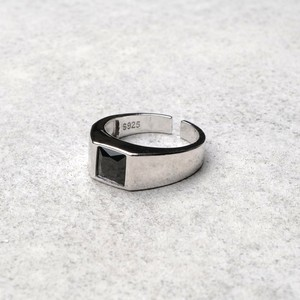 S925 BIG BLACK ZIRCONIA RING SILVER