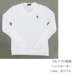 ゴルフプロ監修 ニットセーター【日本製】白17004