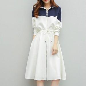 【ワンピース】超お買い得!快適ゆったり切り替え配色ウエスト絞り長袖折り襟カジュアルワンピース