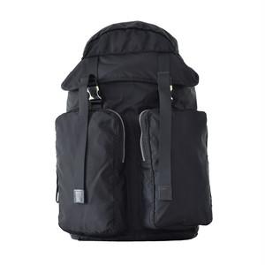 LORINZA   Nylon Twill Double Pocket Backpack Black