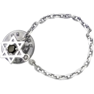 ブラックCZ ヘキサグラム 六芒星 チェーン シルバー ピンバッジ ピンズ*BK-1109