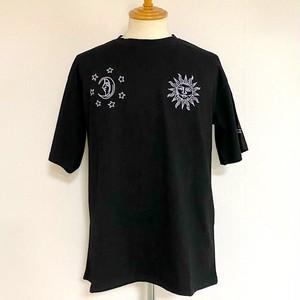 Sun & Moon Embroidery T-shirts Black