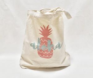 キャンバストートバッグ アロハロゴパイナップルプリント