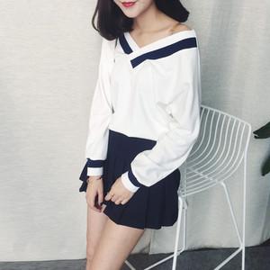 【トップス】韓国風ファッション長袖VネックTシャツ