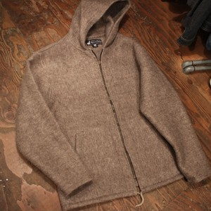 Alpaca wool hooded coat