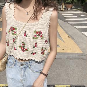 透かし編みフラワー刺繍ノースリーブ ・14600