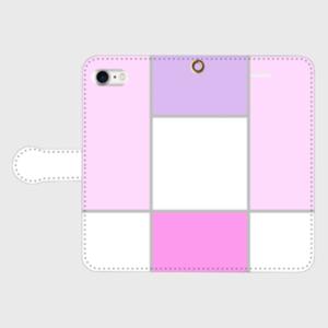ブロッキング柄5(ピンク)♡手帳型iPhoneケース