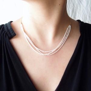 パールネックレス … rice pearl【K14gf】3連 Medium
