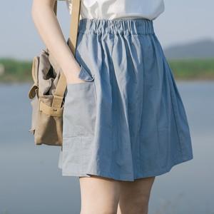 【ボトムス】文芸スタイル 無地 ウエストゴム ポケット付き 着痩せ ボトムス ショート スカート43664693