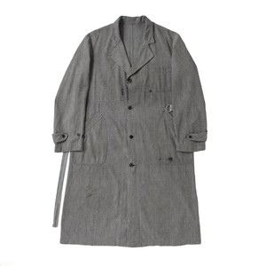 French work cotton chambray  atelier coat, fade gray