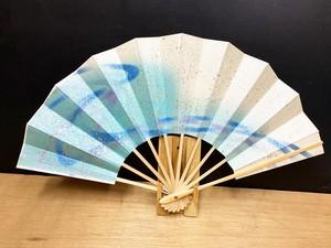 舞扇子 白竹 水流れ 金砂子【KR015】