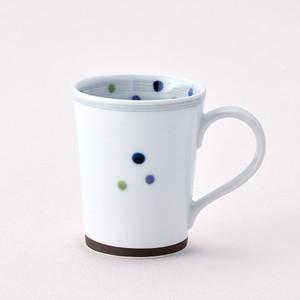 色彩水玉 マグカップ青