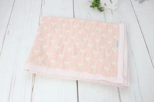 ハート柄のガーゼケット(おくるみ・ひざかけ)ベビーケット ピンク 出産祝い
