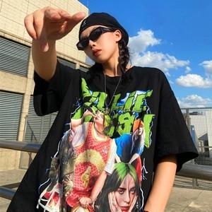 【トップス】半袖ストリート系カジュアルプリント男女兼用パンク風Tシャツ46302635