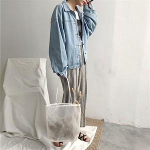 デニムジャケット(ブルー・グレー) ゆるめ ドロップショルダー 羽織り