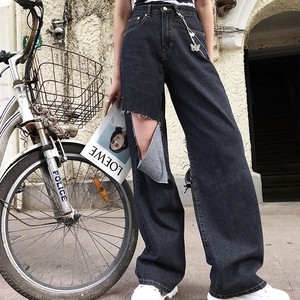 over damage cut pants