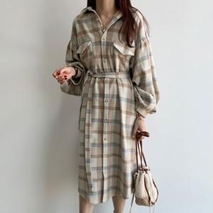 【ワンピース】ファッション シングル ブレスト Aライン ボウタイ チェック柄 カジュアルワンピース38599037