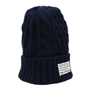CABLE ARAN KNIT CAP - NAVY