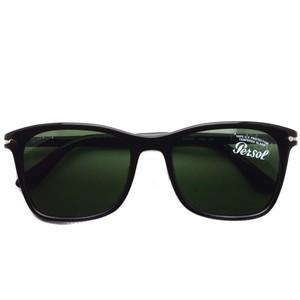 Persol ペルソール / 3192S アジアンフィット / 95/31 ブラック-ダークグリーンガラスレンズ ウェリントンサングラス
