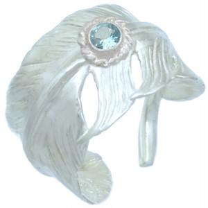 (11月)ブルートパーズ ホワイト フリー フェザー シルバー リング 誕生石*BR-1046