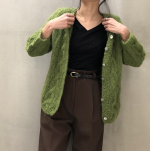 60's Hand made Green knit cardigan