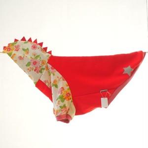 【4L】赤×フラワーの怪獣フード 犬服・中型犬・大型犬