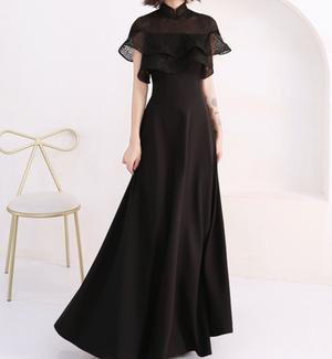 【ヴィヴィアン】マオカラー ブラックドレス
