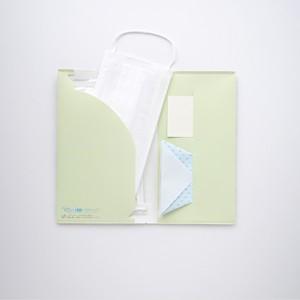 石の素材ハクアを使用したマスクケース[グリーンタイルパターン]【除菌ウェットティッシュと折り紙コップ付き】
