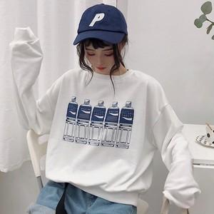 【トップス】ランタンスリーブラウンドネックプルオーバープリントプリントTシャツ