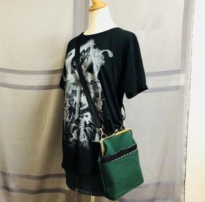 国産帆布Wポケットショルダー(深緑×黒)/送料無料