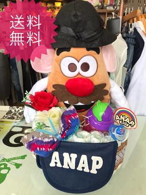 おむつベビーカー/おむつケーキ/オムツケーキ/ANAP/アナップ/出産祝い/誕生祝い/お祝い/ディズニー/Mr.ポテトヘッド/おむつバイク
