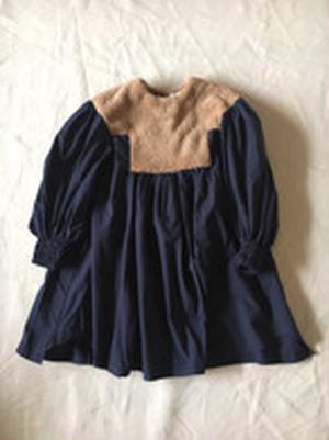 LLサイズ boa dress   col.ベージュboa×ネイビー