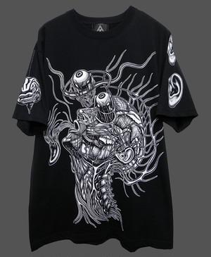 ゼンマイTシャツ 黒×白