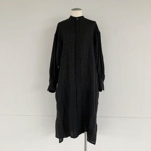 【COSMIC WONDER】Beautiful Belgium linen european shirt dress /Black/11CW17211-2