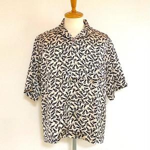 Animal Print Open Collar Shirts Ivory Cat